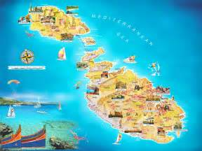 Malta travel and vacation map showing attractions travel around