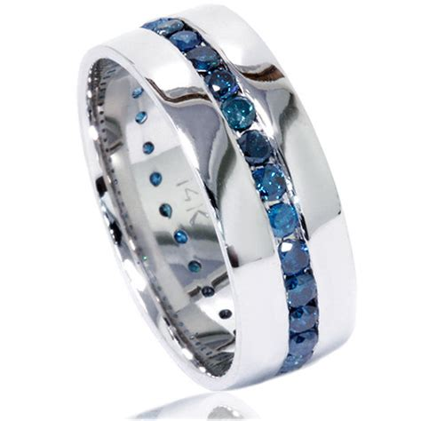mens wedding bands white gold comfort fit 1 25ct blue diamond channel set mens wedding comfort fit 5