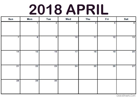 printable calendar 2018 a4 april 2018 calendar a4 size printable