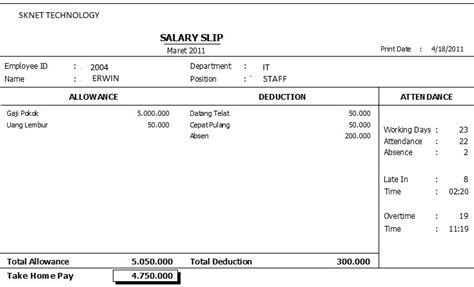 contoh slip gaji harian contoh 84