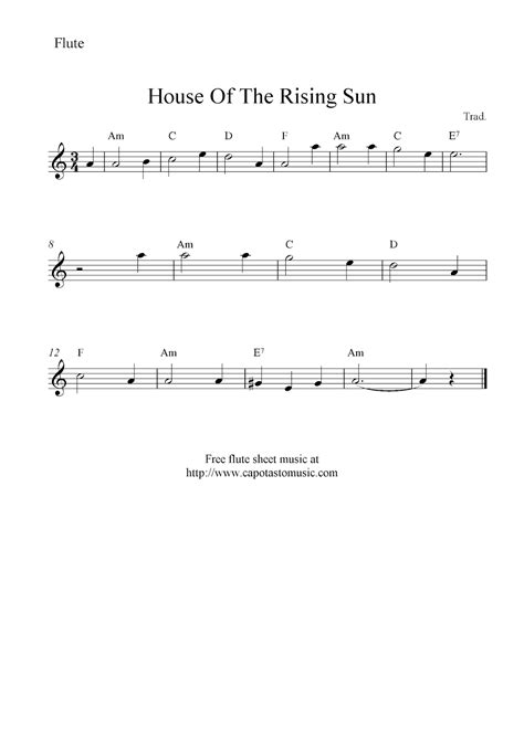 house of rising sun sheet music house of the rising sun free flute sheet music notes