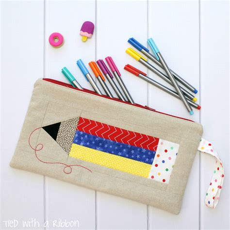 Pattern Sewing Pencil Case | tied with a ribbon colour my world pencil case pattern