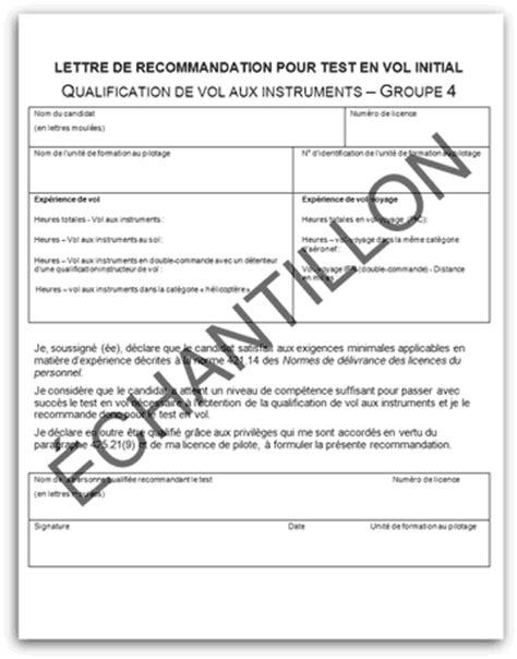 Lettre De Recommandation Formulaire Lettre De Recommandation Pour Test En Vol Initial Transports Canada