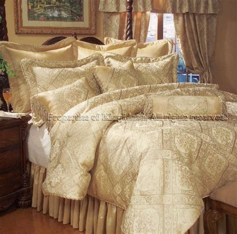bedding bed 9pcs full gold imperial comforter set bed in