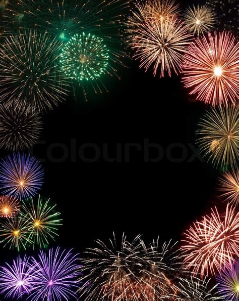 fireworks frame with copy space in the center stock