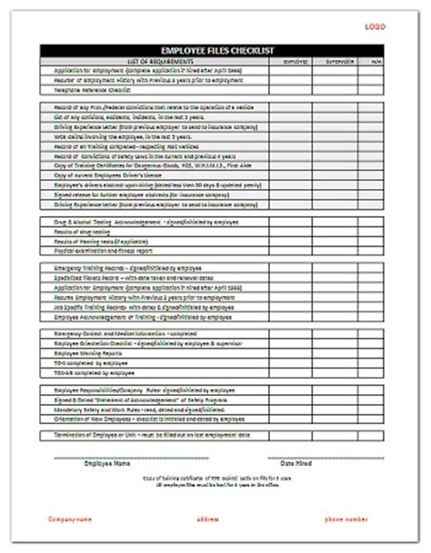 file template employee files checklist