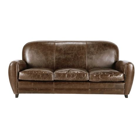 Brown Leather Vintage Sofa by 3 Seater Leather Vintage Sofa In Brown Oxford Maisons Du