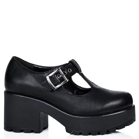 heeled shoes buy cattie heeled cleated sole platform ankle boots black