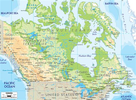 physical map of america map of united states and canada physical features