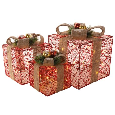 set of 3 red sequin christmas xmas presents gift parcels