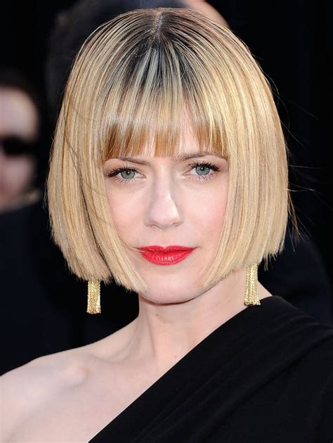 stacked bob haircut with bangs sunrise coigney short stacked bob haircut with blunt bangs