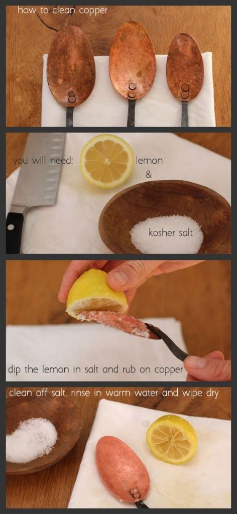 Jays Kitchen Sea Salt how to clean copper naturally with just lemon salt stains kitchen tools and copper