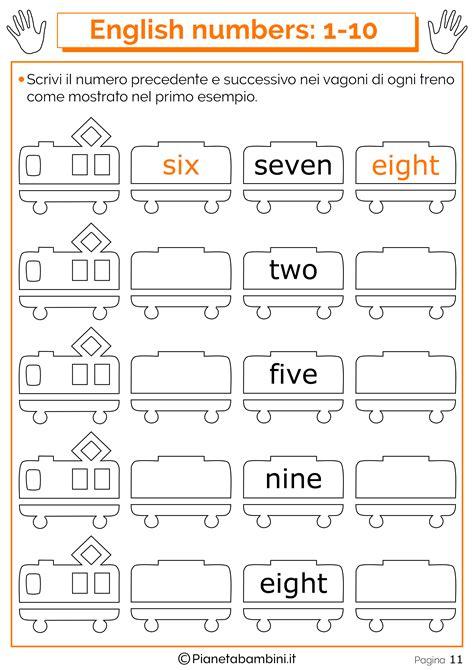 numeri in lettere inglese schede sui numeri in inglese da 1 a 20 per bambini da