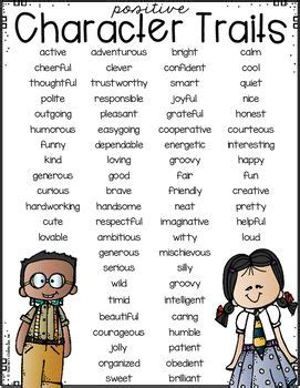 a list of both positive character traits and negative