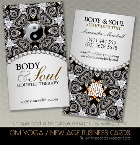 holistic business cards templates holistic black silver new age with yin yang symbol