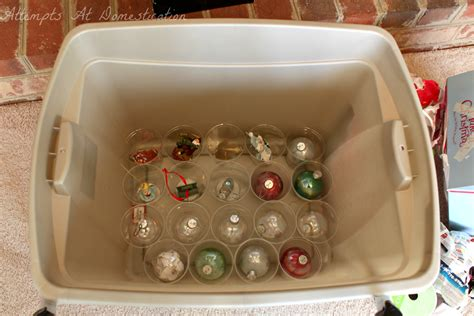 christmas ornament storage attempts at domestication