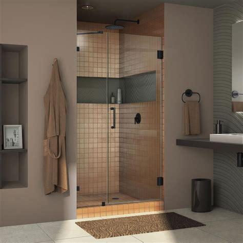 Unidoor Shower Door Dreamline Unidoor 48 In To 49 In X 72 In Semi Framed Hinged Shower Door In Satin Black With
