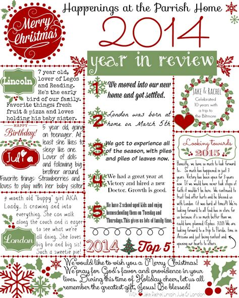 christmas letter year review printable dayday
