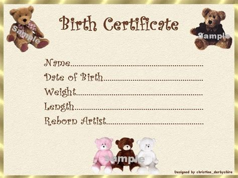 reborn birth certificate template free teddy birth certificate certificates 4 reborn