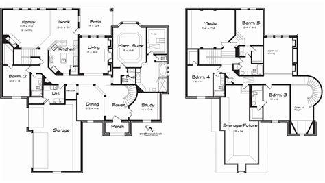 5 bedroom house floor plans 2 story house plans luxury 5 bedroom house plans 2 story