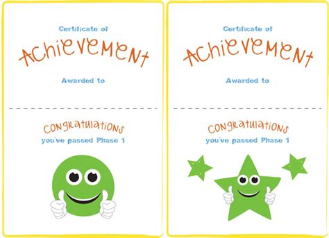 phase 1 editable certificate free early years primary