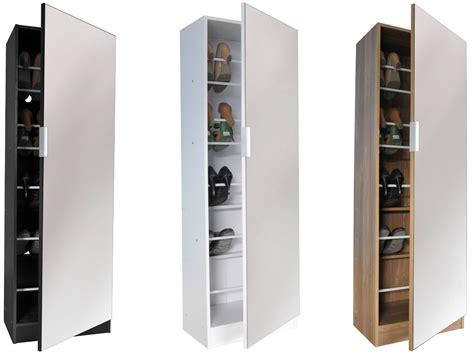 Mirrored Storage Cabinet 5ft Mirrored Shoe Cabinet Storage 150cm 5 Tier Mirror Black White Oak