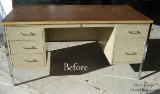 Office Metal Desk Metal Desk Makeover Before And After Reveal