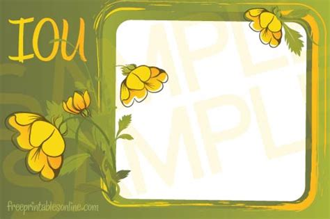 iou card template summer bloom iou coupons free printables