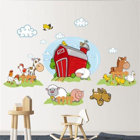 boerderij kinderkamer boerderij dieren muurstickers set gratis verzending