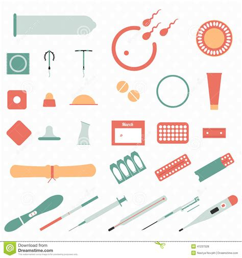 all modern all modern types and contraception methods icons stock