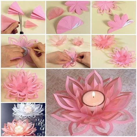 Diy Crafts Paper - creative diy paper lotus candlestick project included