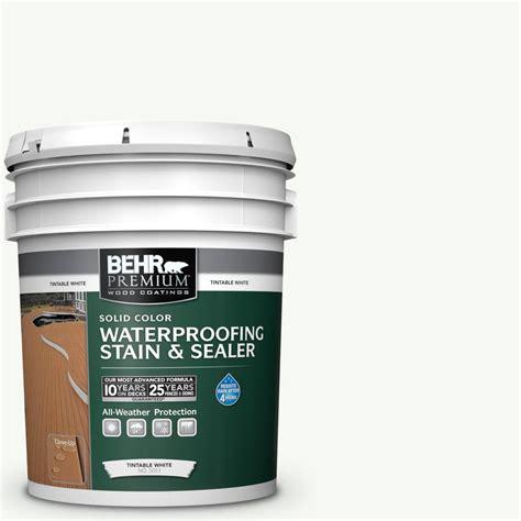 behr premium  gal  white solid waterproofing exterior