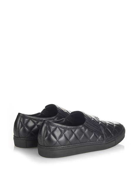 balmain quilted leather skate shoes in black for lyst