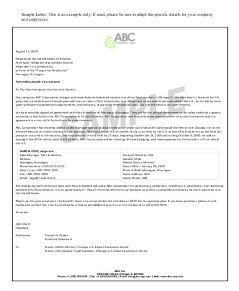 company letter visa application sle application letter for visa by company 28 images 31