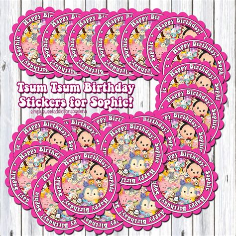St Tsum Tsum R tsum tsum birthday stickers for favors f a v o r s t i