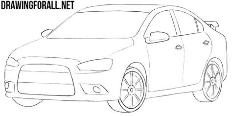 mitsubishi evo drawing how to draw a mitsubishi lancer drawingforall