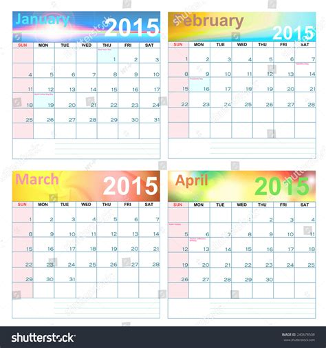 Calendar For Year 2015 United States Calendar For Year 2015 January April United States