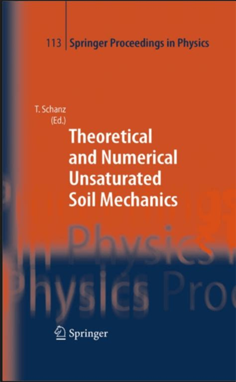 theoretical  numerical unsaturated soil mechanics   schanz book
