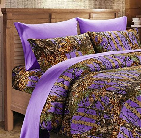7 pc purple camo comforter and sheet set queen camouflage
