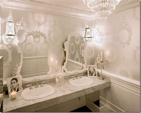 glam bathroom ideas glam bathroom wallpaper mirrors chandeliers oh my