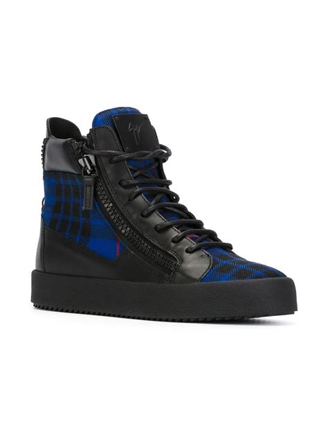 blue giuseppe sneakers giuseppe zanotti check hi top sneakers in blue for