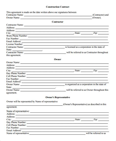 contract work template 11 contract templates free word pdf documents