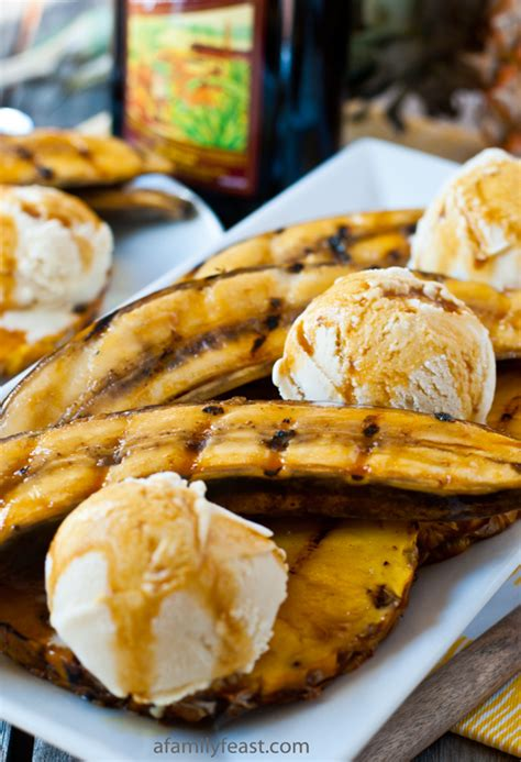 grilled bananas and pineapple with grilled bananas and pineapple with rum molasses glaze