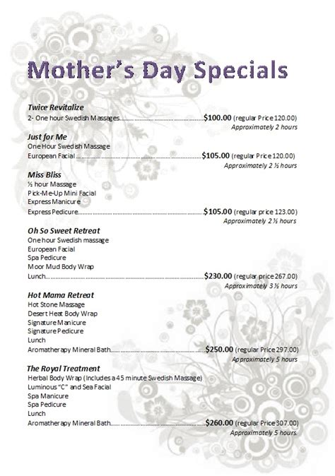day specials apple ii salon and spa