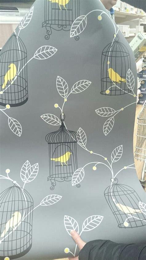 grey wallpaper yellow birds gray wallpaper yellow bird pattern house dreams pinterest