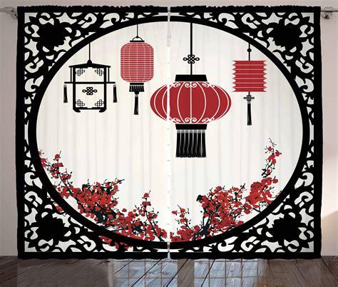 japanese decor curtains 2 panels set cherry blossom home japanese curtains lanterns and sakura cherry blossoms 2