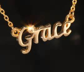 grace name necklace with rhinestone gold or silver tone ebay