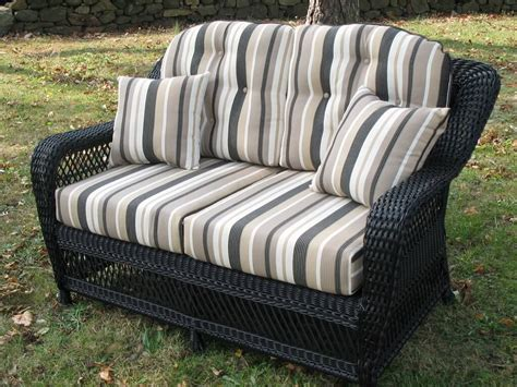 Wicker Patio Furniture Cushions Wicker Loveseat Striped Gray Replacement Cushions For Outdoor Wicker Furniture Replacement