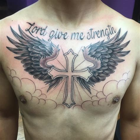 cross with wings tattoo on chest collection of 25 wings cross on chest