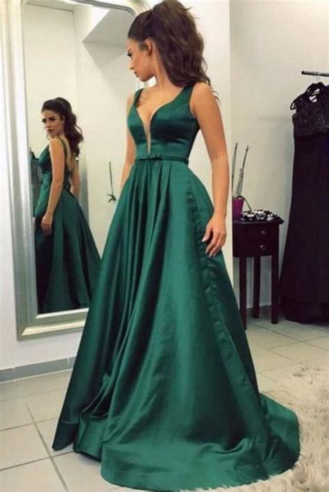 green satin prom dresseslong prom dressessimple prom